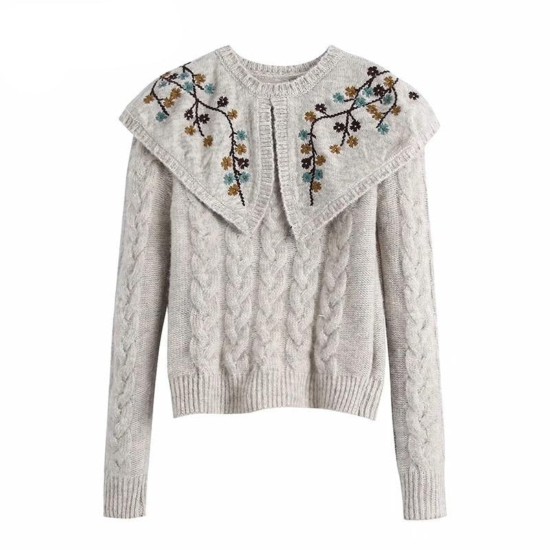 Chic Floral Embroidery Pullover Sweater Women O Neck Twist Cropped Tops Lady Long Sleeve Elegant Sweaters Pull Femme