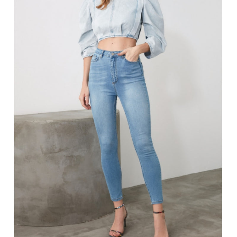 Women Skinny Jeans Light Blue High Waist Denim Stretch Washed Autumn-winter Elastic Size Slim fit Pencil Pants