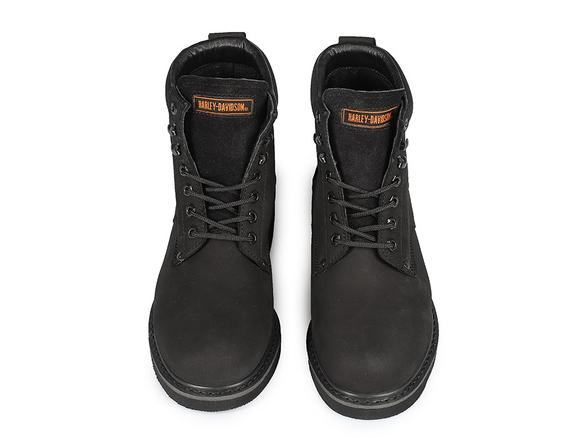 original black nubuck men's boots about two leather thick soles waterproof lace-up winter shoes