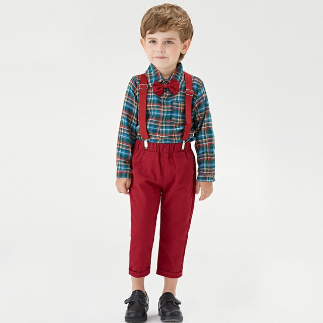 Boys spring and autumn gentleman suit bow knot multi color children's long-sleeved shirt retro overalls set school party clothing Toddler boy0-7