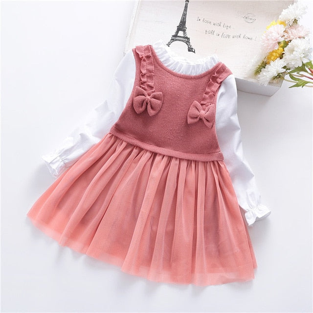 Flower Girl Dress Girls Dresses  Elegant Long Sleeved Bow Stitching Princess Dress Elementary School Graduation Clothing