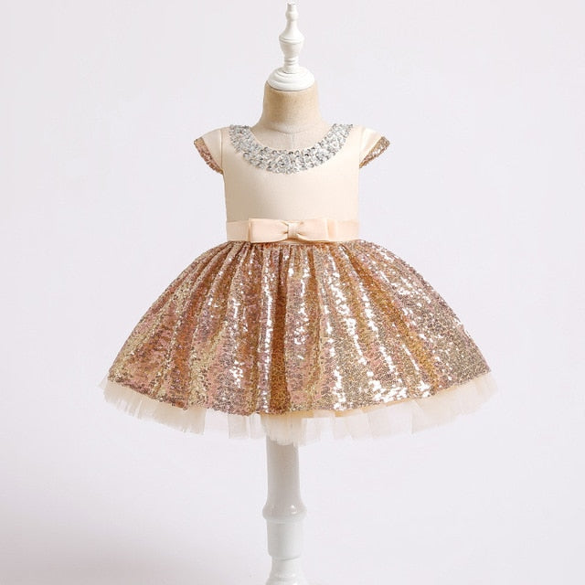 New girl dress Princess Birthday Party sequins beaded dress flower girl Wedding Party Prom dinner party sequins dress