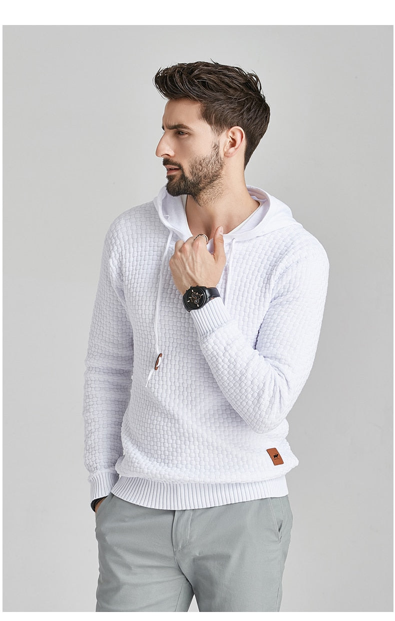 Men High Quality Hooded Casual Sweaters Men Streetwear Solid Men Sweater New Autumn Knitted Hoodies Men