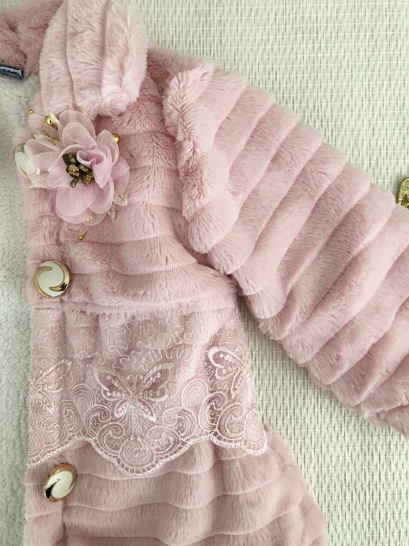 Baby Girl Winter Clothes New Cute Fleece Fur Coat With Lace Outerwear Children Jacket Kids Clothes Pink Christmas Gift Idea Noel