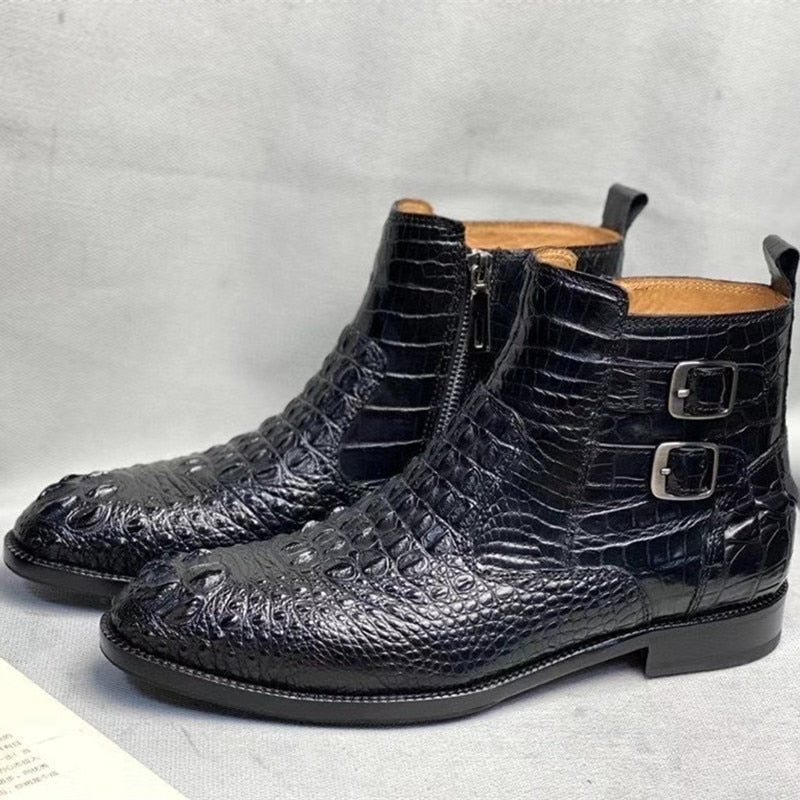 Authentic Real Handmade Men's Ankle Shoes Genuine True Leather Male Winter Chelsea Boots