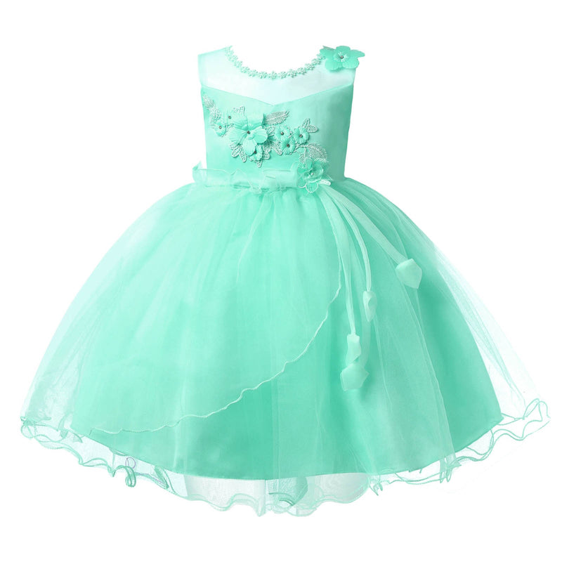 Children Girl Princess Cosplay Christmas Costume Knee Length Sleeveless Bead Embroidered Flower Dress Vestido For Party Holiday