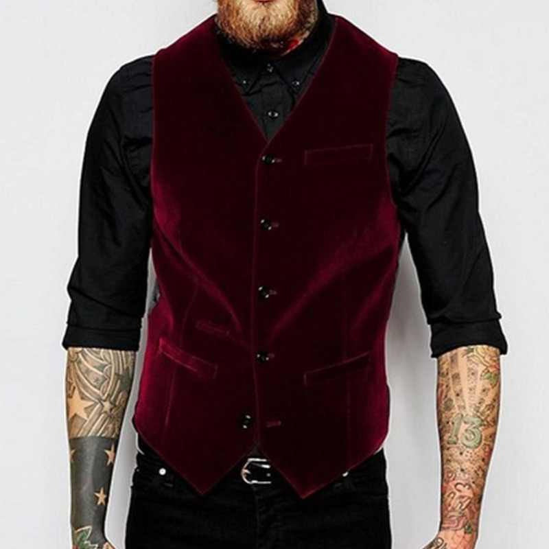 Velvet Vest for Men Suit V Neck Single Breasted One Piece Casual Male Waistcoat New Costume