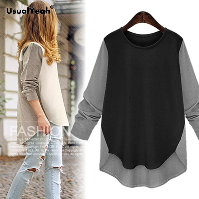 Women Patchwork T-shirt Loose Style Shirts Long Sleeve OL Female contrast color