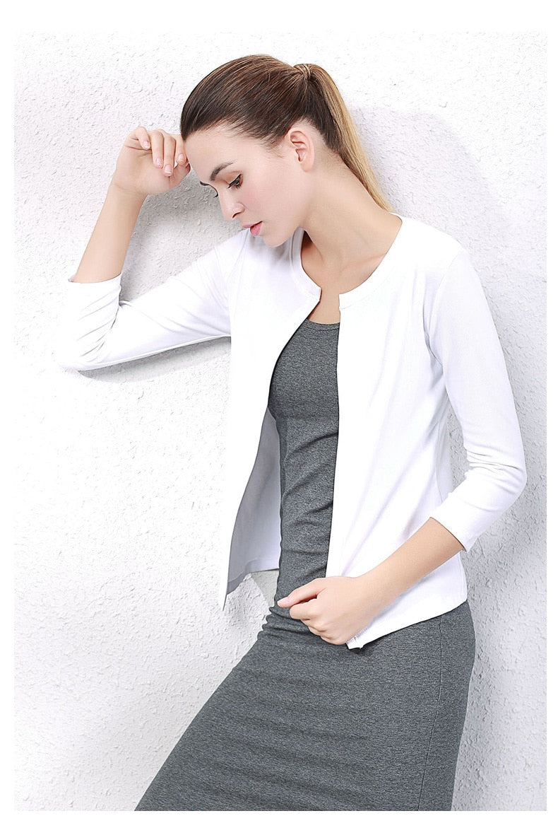 Women cotton casual coat Lady office jacket O-NECK Three Quarter Sleeve all match women tops
