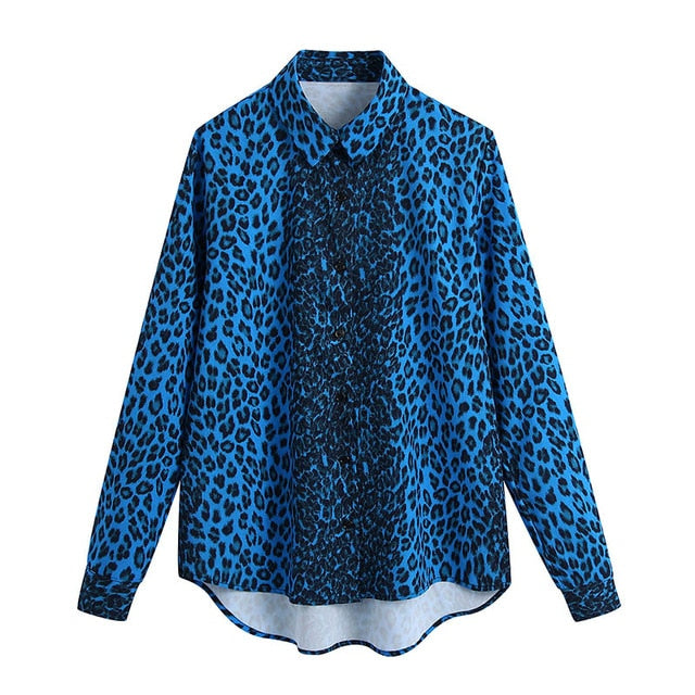Women Vintage Leopard Print Blouses Shirts Office Wear Turn Down Collar Shirt Tops Long Sleeve Loose Casual Blouse