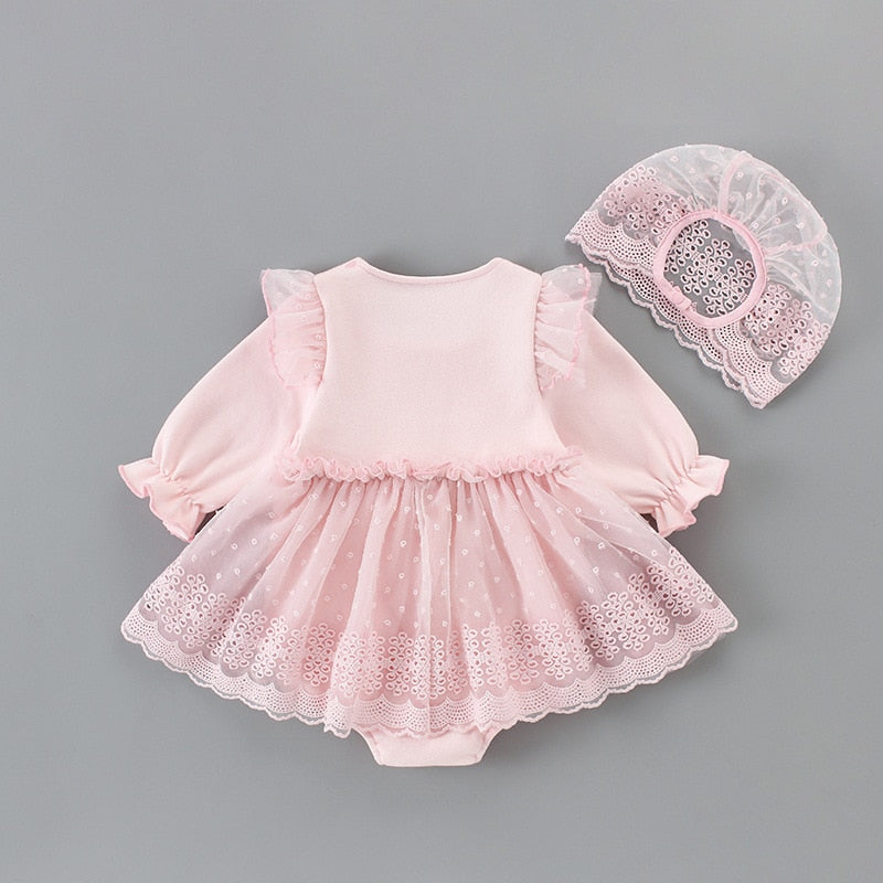 baby girls clothes baby autumn bodysuits infant baby girls christening baptism party princess dress+lace hat 2pcs/set pink 0-2Y