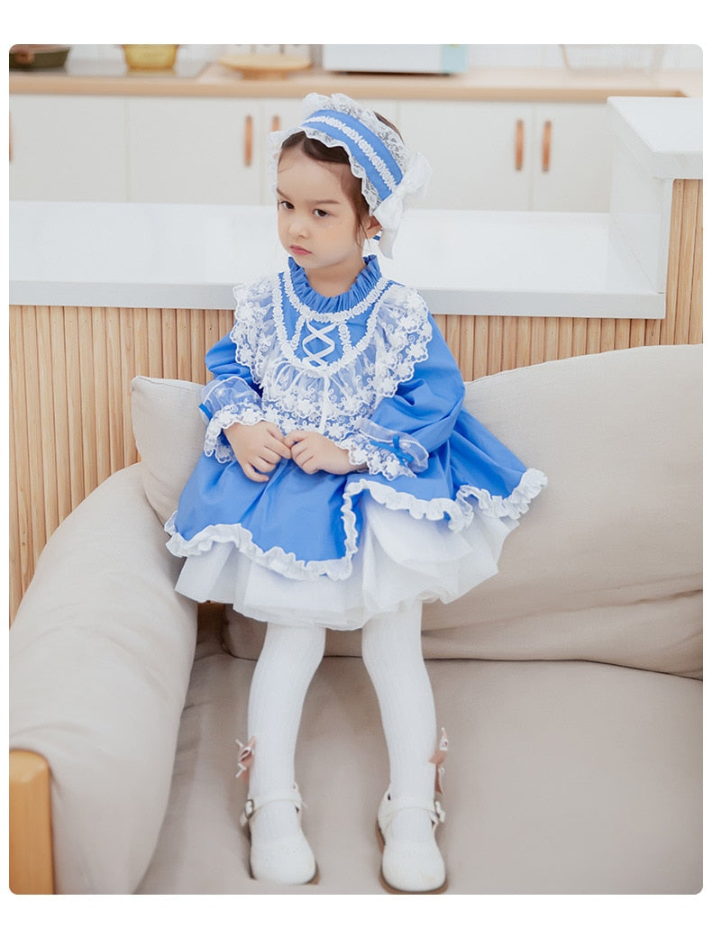 Princess Dress for Baby Girls Bule Spanish Vestidos Kids Autumn Winter Wedding Birthday Party Dresses Infant Spain Frock
