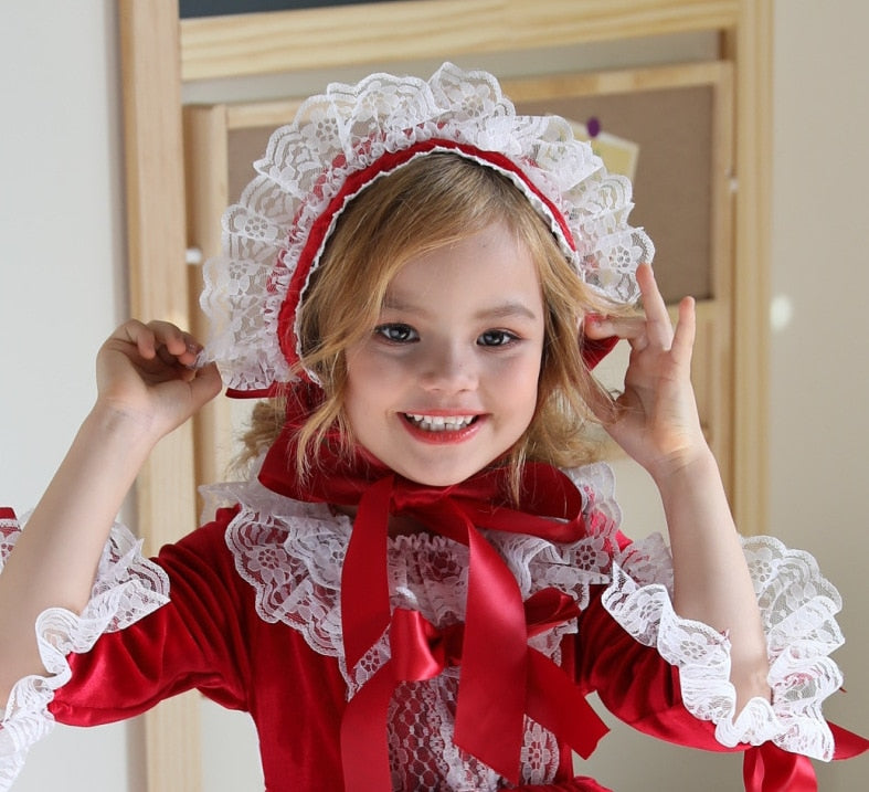 Kids Spanish Girls Dresses Children Birthday Red Lace Ball Gowns Baby Baptism Lotia Dress Girl Spain Boutique Clothes Set