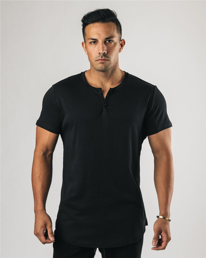 Plain clothing fitness polo shirt men extend tshirt summer gym short sleeve t-shirt cotton bodybuilding Slim tops tees