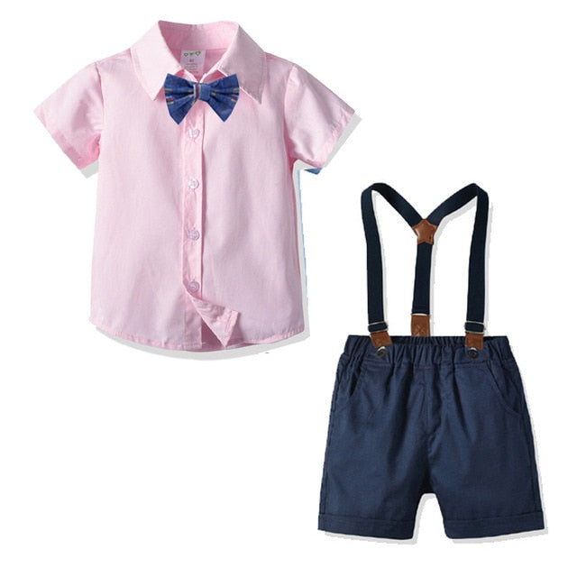 Boys Summer Gentleman Suit Infant Short Sleeve Shirt+Bib Pants Overalls Children Birthday Wedding Christening Party Clothes Set