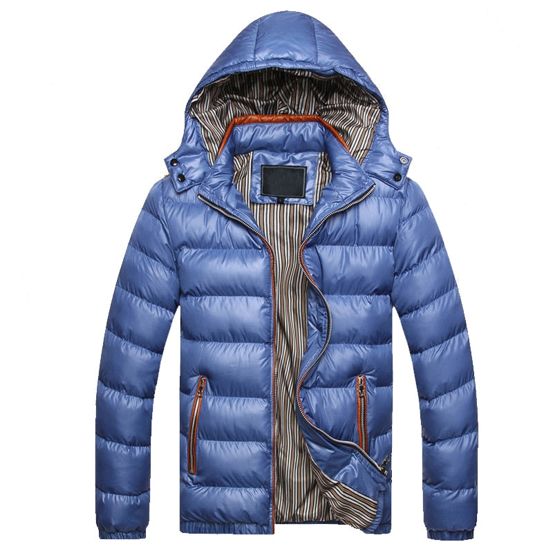 Men Winter Trench Coat Warm Thick Male Jackets Padded Hooded Casual Parkas Men Overcoats Mens Hooded Men's Thickened Jacket