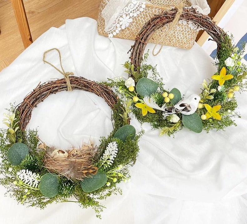 1set Easter Decoration Flower Wreath Natural Rattan Wreath DIY Crafts Easter Decoration For Home Door Hanging Christmas Wreaths