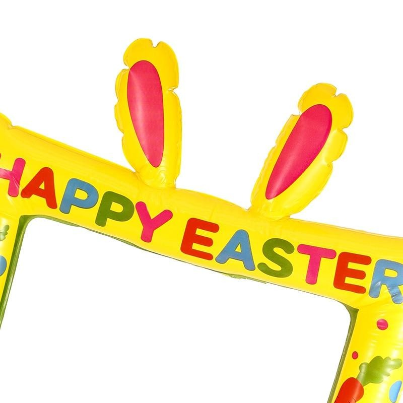 Happy Easter Inflatable Rabbit Frame Easter Photo Booth Props Blow Up Party Props Party Selfie Picture Frame Easter Party Decor