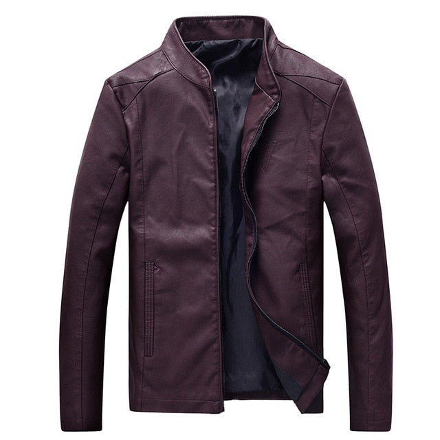 New Autumn Men's Jackets Locomotive Leather Stand Collar Pu Leather Jacket for Male Casual Outer Clothing