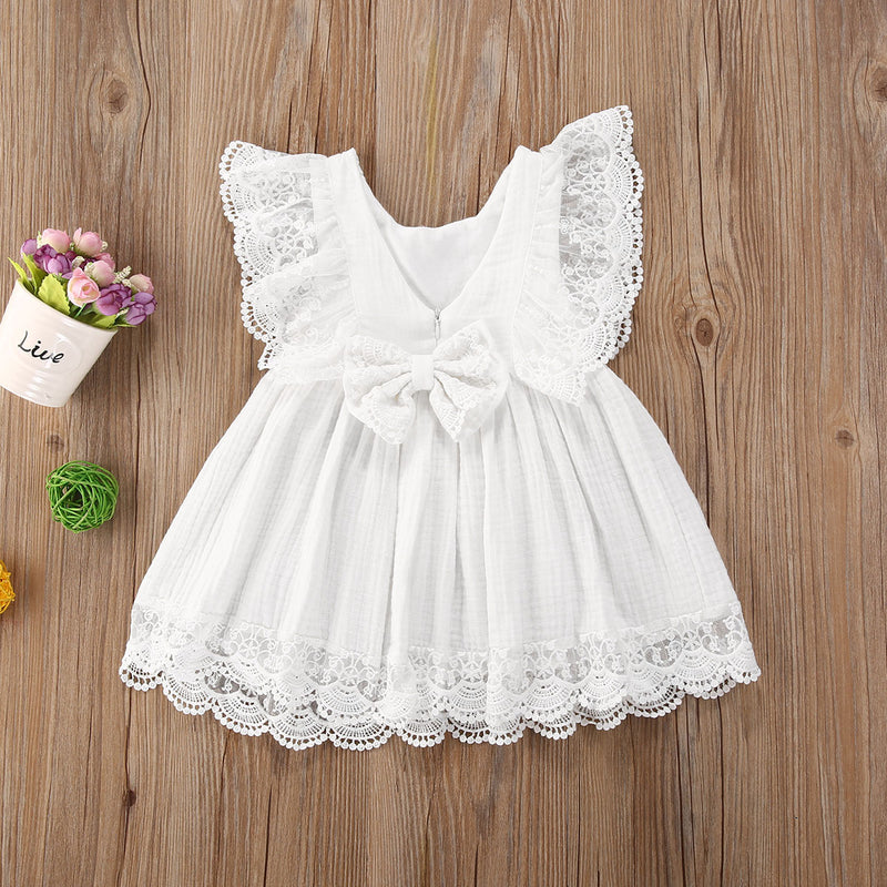 Kid Child Baby Girls White Dress Summer Ruffles Lace Bow Princess Dresses Costumes Clothes