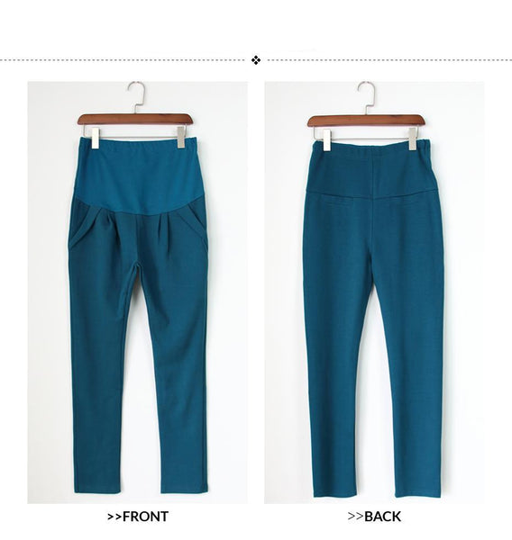 New Arrival Good Quality Cotton Peacock Blue Maternity Capris All Match All Season Casual Harlan Pants For Pregnant Women