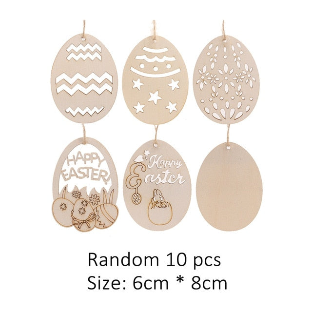 20/50PCS Easter Foam Plastic Eggs DIY Rattan Wreath Happy Easter Bunny Rabbit Colorful Wooden Hanging for Kids Party Decoration