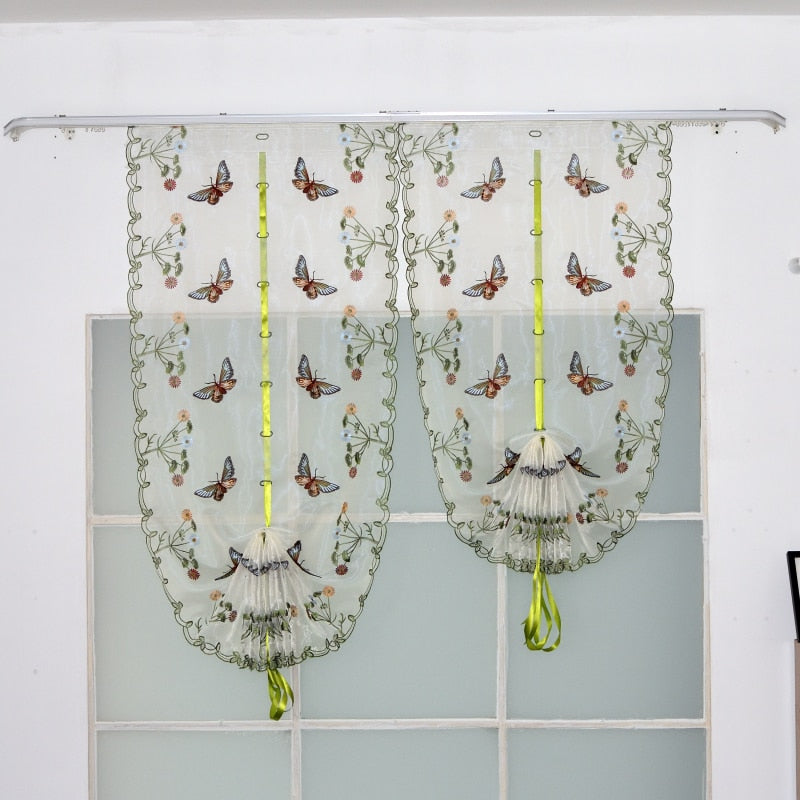 Color Butterfly Embroidery Pattern Tulle Curtain for Bedroom Living Room Kitchen Roman Blinds Sheer Home Decoration
