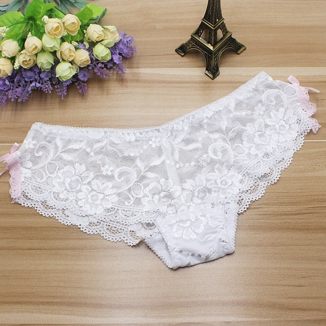 Sexy Mesh Seamless Panties Underwear For Women Breathable Cotton Lace Briefs Hollow Out Intimates Sexy Lingerie Low Waist Women