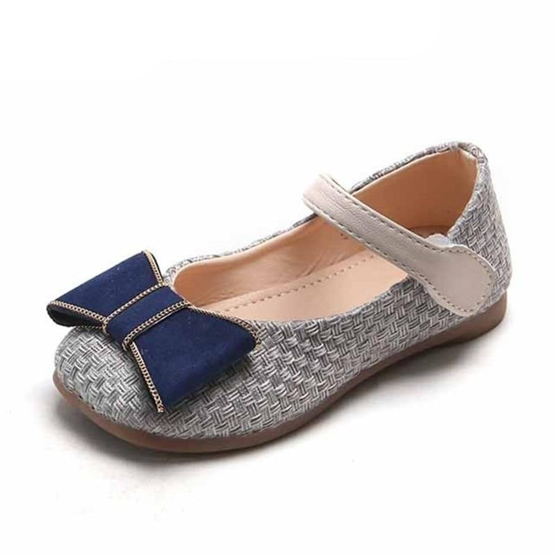 Girls Shoes Butterfly Knot Princess Shoes Linen Weave Mary Janes Shoes New Fashion Kids Flats Non-slip Toddlers