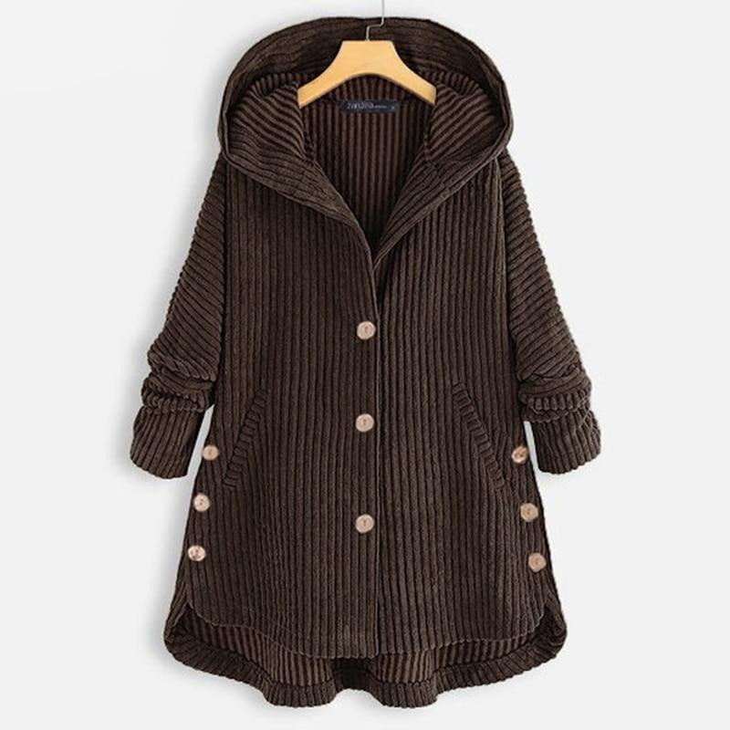 Women's Irregular Jackets Corduroy Coats Winter Long Sleeve Outwears Female Button Hooded Tops
