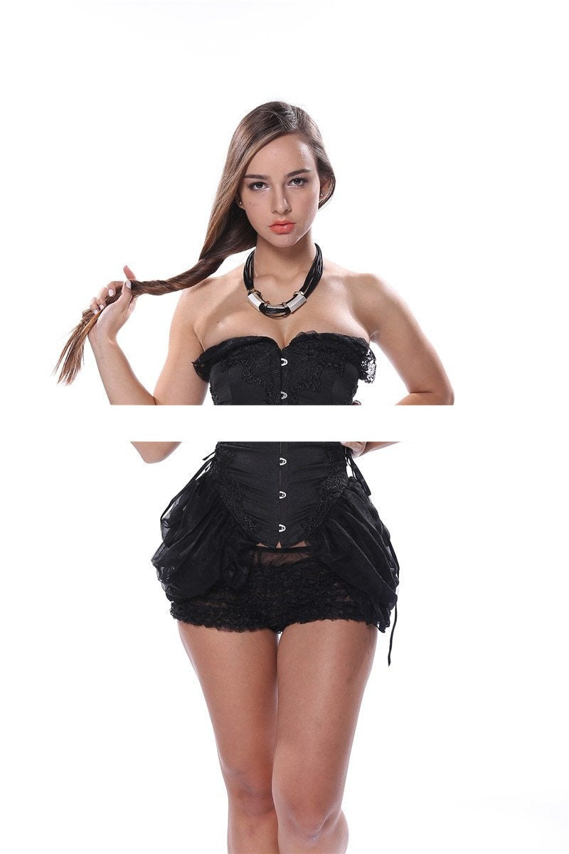 Sexy Corset Bustier Lace Women Plus Size Lace Push Up Gothic Strapless Overbust Long Corset Dress Corselet Black White