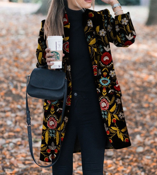 Autumn Flower Pattern Long Sleeve Vintage Casual Women Slim Coat Winter Lapel Clothing
