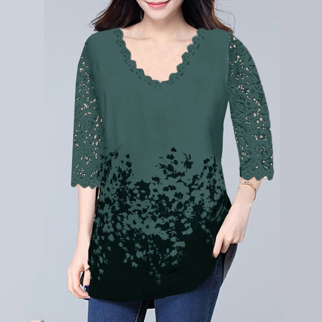 Women V-neck T-shirt Half Sleeve Floral Spring Sweater Large Plus Size 5XL Hollow Out Casual Female Lace Boho Women Shirt