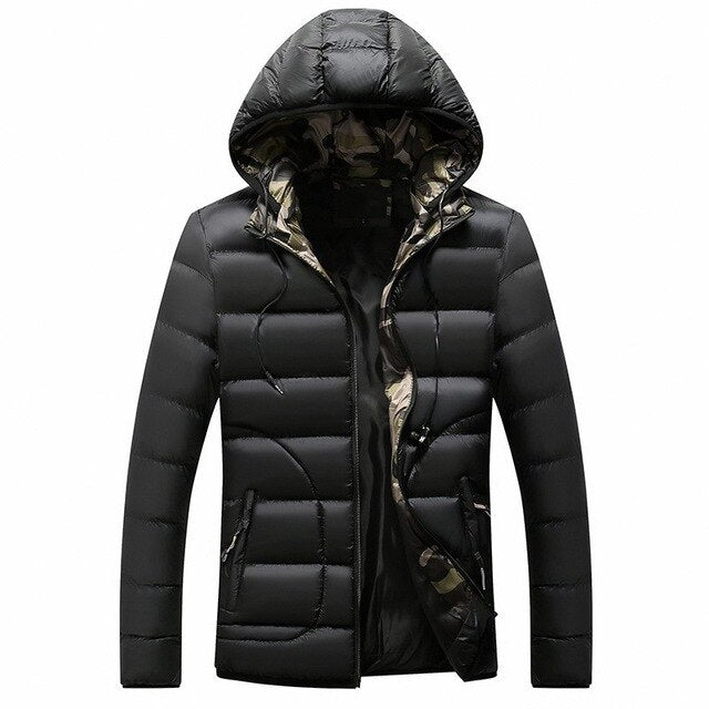 Mens Warm Parka Jacket Winter Coat Male Solid Striped Hooded Outwear Overcoat Zipper Slim Fit Casual Windbreaker Jackets