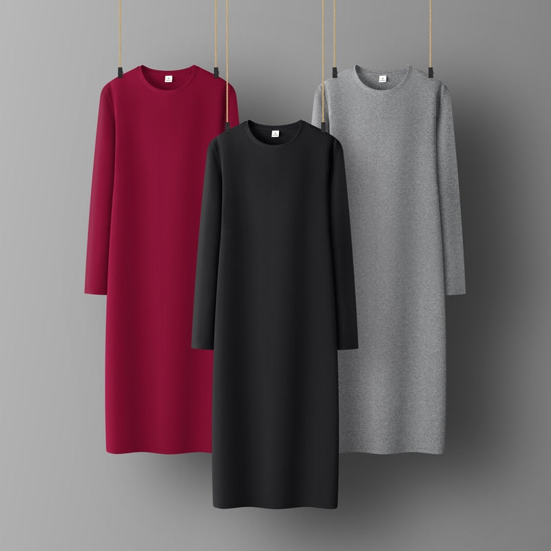 Woman Cotton Soft  Dress Full sleeve O-neck Casual  Elastic Lady office dress