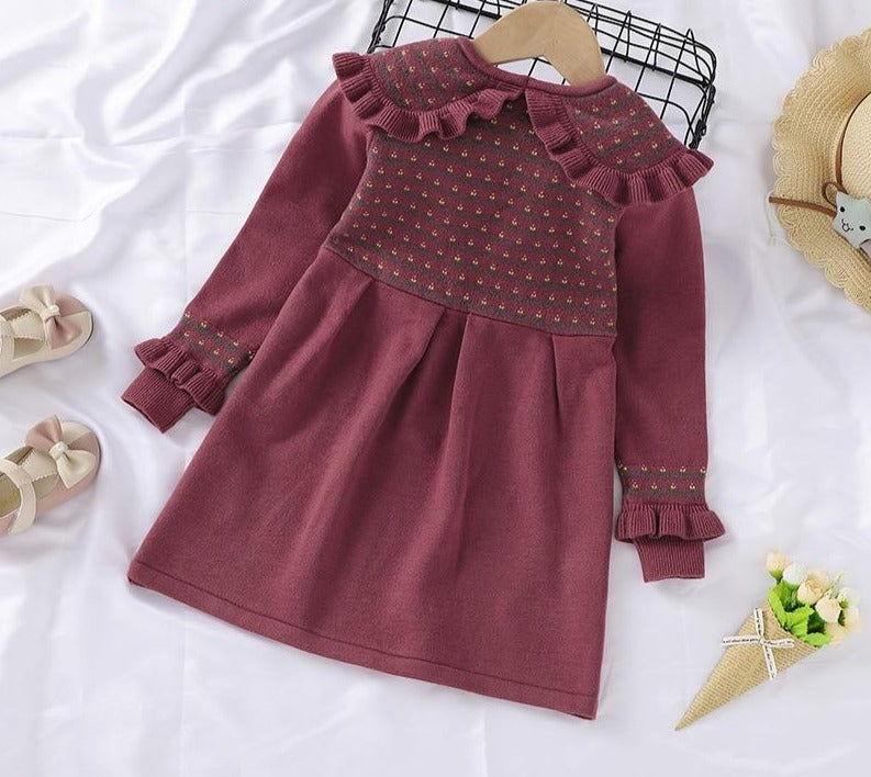 Baby Girl Sweater Dresses Fashion Long Sleeve A-Line Infant Kids Princess Birthday Party Dresses One Piece Toddler Clothes
