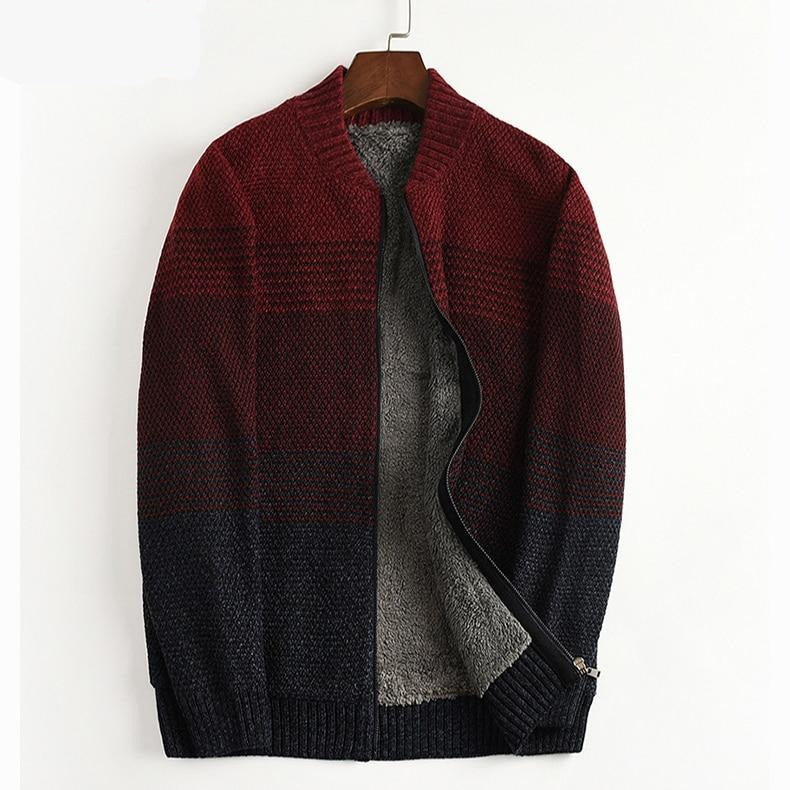 New Arrival Autumn Winter Jacket Men Warm Cardigan Plush Casual Computer Knitted Mandarin Collar Striped