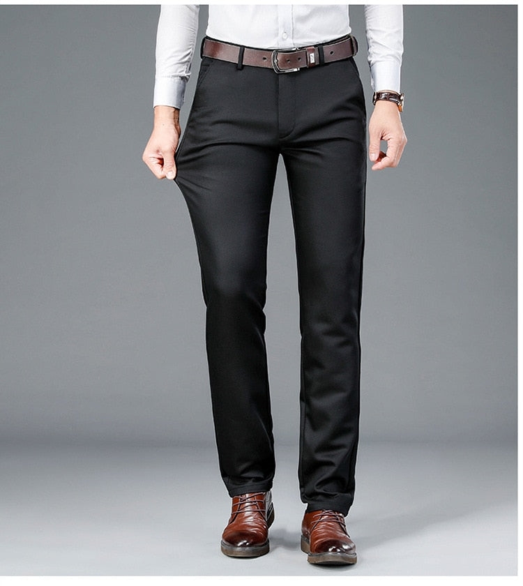 Men Winter Fall High Quality Loose Solid Color Cotton Casual Straight Trousers Businessmen Japan Style Simple Suit Pants