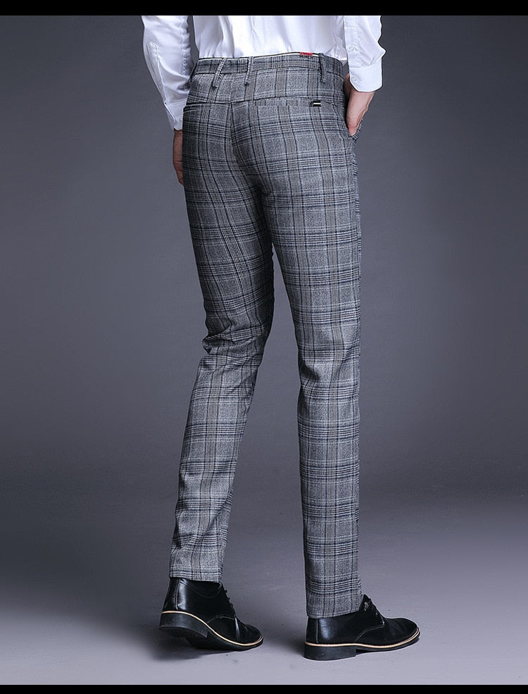 Spring Autumn Men Style High Quality Classical Plaid Trousers Mid Waist Slim Fit Casual Straight Suit Pants Male