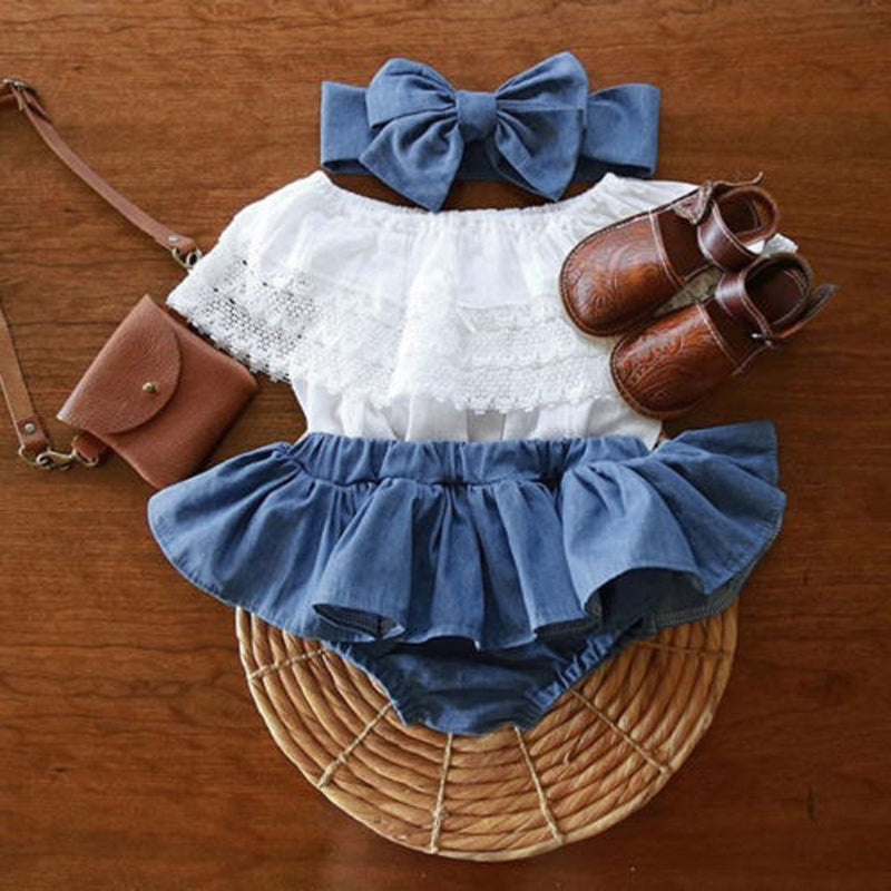 Children's Christmas three-piece suit Newborn Baby Girl Outfit Lace Ruffled Top+Demin Shorts Dress+Headband Clothes beautiful Y4