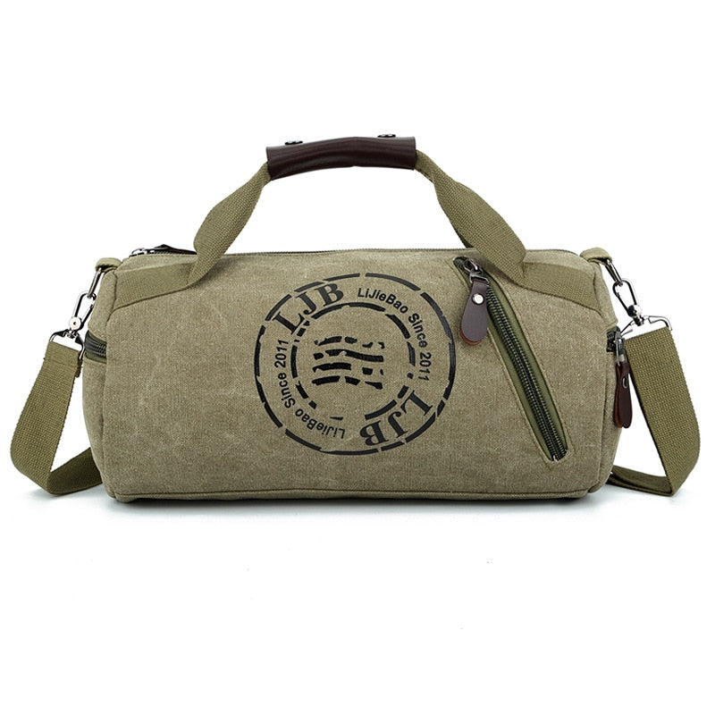 Lightweight Weekend Overnight Carry on Tote Bag for Men Training Handbag Canvas Cylindrical Leisure Travel Fitness Clothing Bag