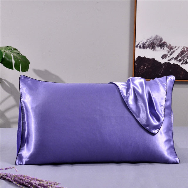 White and Black Color Pillow Cover Full Queen King Size Satin Silk Pillowcase Sham Standard Pillowcase Cover
