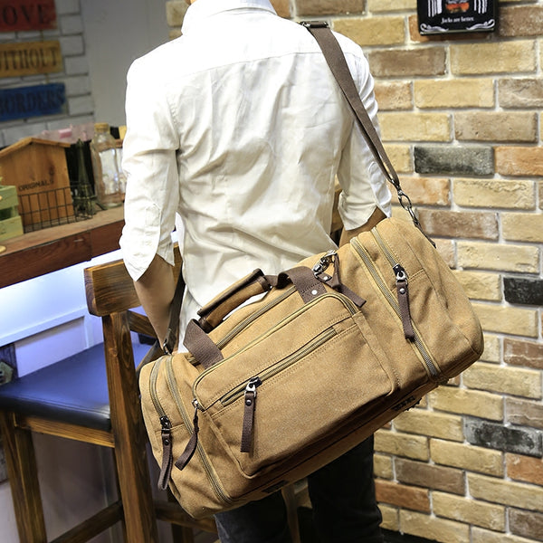 Travel Bag Large Capacity Men Hand Luggage Travel Duffle Bags Canvas Weekend Bags Multifunctional Travel Bags Black&khaki