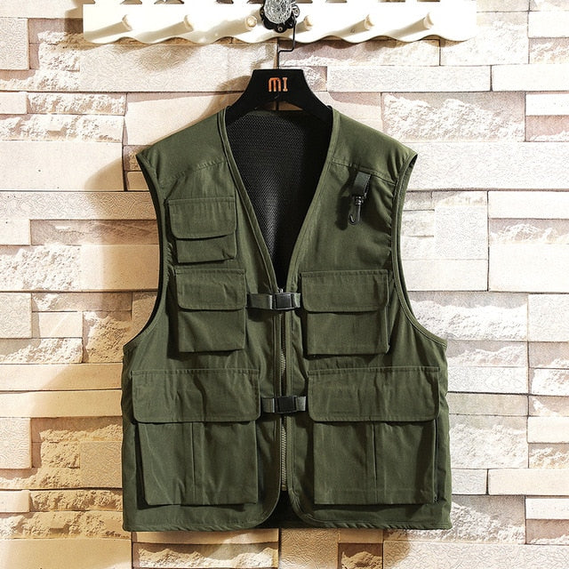 Sleeveless Jacket Vests For Men's Pocket Photography Waistcoat Casual Spring Autumn Outdoors Military Black