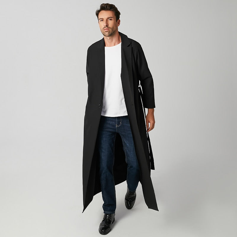 Men Trench Streetwear Long Sleeve Lapel With Belt Outerwear Long Coats Solid Color Men Windbreakers S-5XL