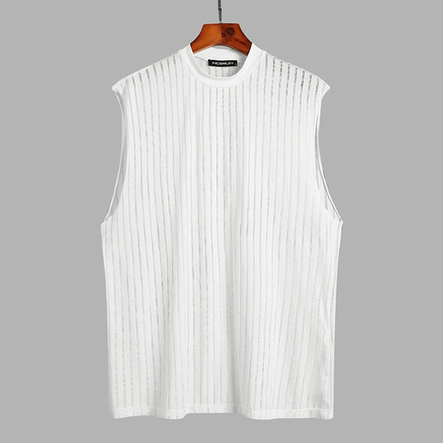 Men Mesh Striped Tank Tops Sleeveless O Neck Streetwear Breathable Vests Summer See Through Mens Tops