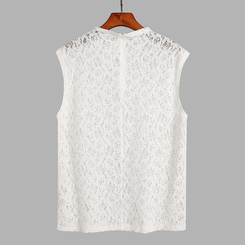 Men Mesh Tank Tops Transparent Lace Hollow Out Sleeveless O Neck Streetwear Vests Tops Men Clothing