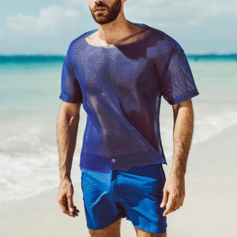 Men Mesh T Shirt Sexy See Through Short Sleeve O Neck Beach Vacation Tee Tops Streetwear Party T-shirts