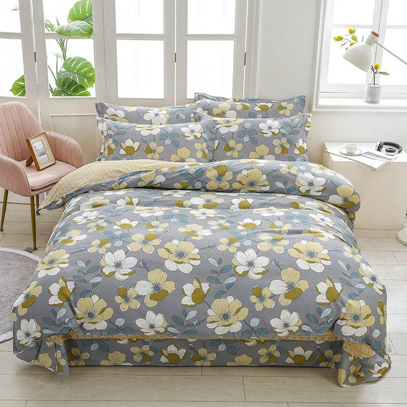 Flowers Grey Cotton Linens Sheet Pillowcase Duvet Cover Set Bedding Sets Queen Double King Family Size