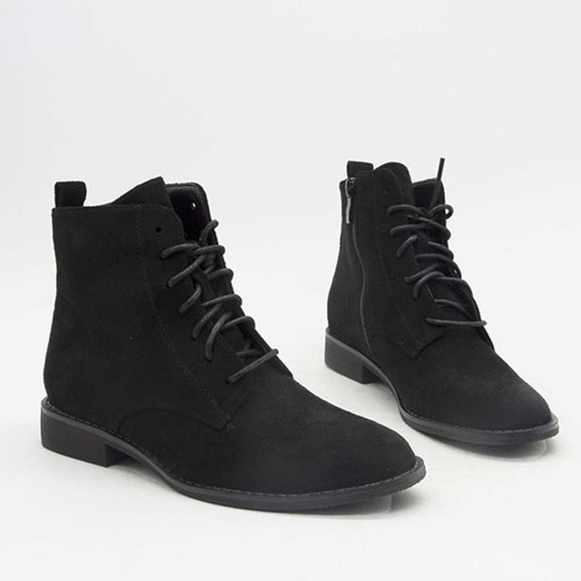 High Quality Shoes Women Round Toe Ankle Zip Boots cross-tied Low Heels Autumn Winter Boots
